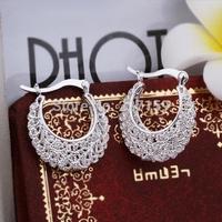 Wholesale New Fashion 925 Sterling Silver Jewelry Women's Hoop Earrings Wave Party E329