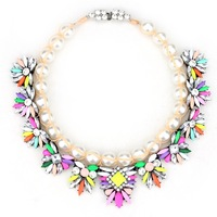 pearl colorful flower crystal choker statement necklace 2014 new design high fashion ZA brand jewelry necklace for women