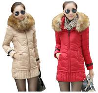 Brand parkas for women winter fur collar medium-long slim white duck down jacket coat ladies thick warm cotton-padded jacket