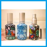 Wholesale - 15ml Color Flower Perfume Glass Bottle Spray Bottle Perfume Dispenser 10pcs/lot L017