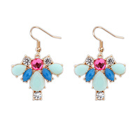 Fashion Bohemia Style Colorful Rhinestone Drop Earrings  Free Shipping DL104472