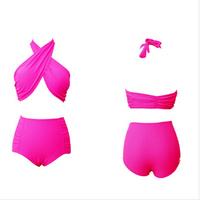 2014 New Fashion brand High Waist Bikini Vintage Swimwear Women Sexy Push Up Swimsuit Halter Cross Body Padded Beach Bikinis Set