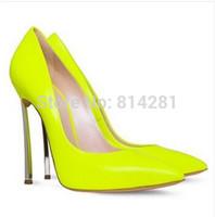 Kim Kardashian Metal Blade high heels Neon green real leather pointy high heels women's pointed toe famous brand shoe