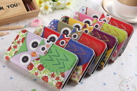 Silk pattern Flower Floral Cute Owl Birds Colored Drawing PU Flip Leather Case Cover Shell for iphone 5 5g 5s,free shipping