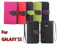 Leaf Flip Wallet Phone Case Cover Luxury PU Leather Stand TPU Back Soft Case For Samsung Galaxy S5 SV i9600