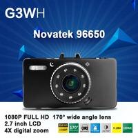 "2.7"" Car Camera G3WH Novatek Full HD 1080P 30FPS+G-Sensor +4X digital zoom +Recorder+HDMI+H.264 Video Recorder Dash Cam"