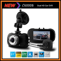 "2014 NEW Dual Camera C6000B Car DVR 2.7"" LCD Full HD 1080P G-sensor+IR Night Vision+Motion Detection Car Recorder Dash Camera"