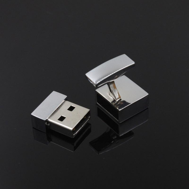 Cufflinks Square Promotional Mini Metal USB Stick USB Flash Drive gift usb free laser logo--free shipping(China (Mainland))