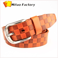 Promotion 50% Discount Off Genuine Vegetable Cow Leather Men's Belt for Party Fashion Diamond Emboss Texture Casual Pants Belt