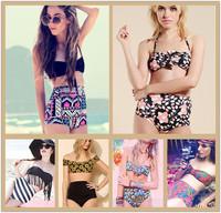2014 New Vintage Print High Waist Bikinis Set Fashion Brand Swimwear Women Sexy Push Up Swimsuit Slim Pad Inside Beach Bikini