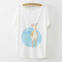 [Magic]  fresh fashion lady Raindrops fawn printing design 2014 summer new arrive women cotton T-shirt free shipping B24