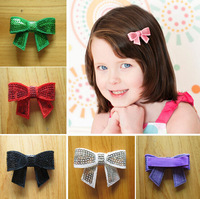 Free Shipping 24pcs/lot sequin Bowknot Applique hair clips DIY handmade hair accessory baby girl hairgrip children hairpin