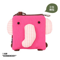 Elephant sanitary napkin bag patch for three-color cartoon sanitary napkin storage bag small change bag coin case