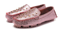 Stylish Skull Rivets Genuine Leather Silver foil Women Flat Shoes (High quality) Free shipping