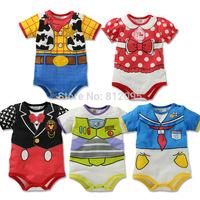 Retail 2014 Newborn 1pcs Baby Cartoon Minnie Mickey romper Short sleeves bodysuits Infants one-piece bodysuit GLZ-L0088