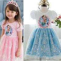 Girls Dress 2014 Frozen Elsa Anna Princess character summer short sleeve dresses Embroidered Birthday Party dresses 5pcs/lot