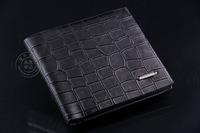 Wholesale Cross Section Alligator Pattern Men's Wallet Genuine Leather Business Short Wallet Men Male Leather Wallet/Purse Men