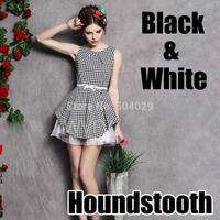 Women Gorgeous A-Line Mini Bubble Dress Sleeveless Black & White Houndstooth Pattern Dresses Ladies Fashion Classic Slim Looking