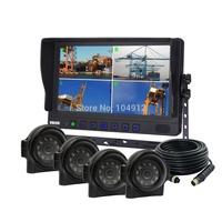 "9"" Quad Monitor Rear View Backup System & Waterproof 420TVL Sharp CCD Car Camera"