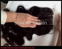 Free shipping 3 part silk base closure body wave brazilian virgin hair cheap silk base closure hidden knots