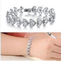 100% Guarantee OLL JEWELRY Gift Box Packing! Top Grade Heart to Heart CZ Diamond Bracelets Luxury Wedding Jewelry, 934