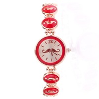 Watch Ladies Beard Mustache Fashion Charm Style Pink Bracelet Watches Women 3 colors Free Shipping Wholesale