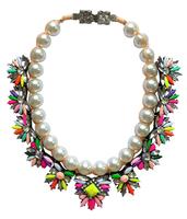 Christmas Gift Women Handmade Pearl Chain Exaggerate Statement Rhinestone Chunky Shourouk Pendant Necklace ND8925