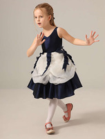 V Neckline Dark Navy Organza Short Flower Girl Dresses Beauty Girls Pageant Dress