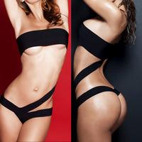 New 2014 Sexy Womens Bandage Strap One-Piece Swimsuit Bandeau Swimwear Bathing Suit Black Cut Out Monokinis Sale SML