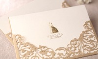 Laser cut Pocket wedding cards with bronzing Bride and Groom ,Personalised and Printable invitation card with envelope ,50 Sets