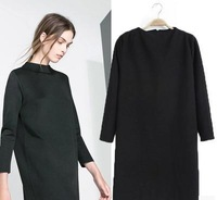 Free shipping/2014 the European and American wind brand chimney brought nine points sleeves straight loose dress