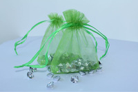 Free Shipping,100pcs/lot CLOVER GREEN Organza Bags 7x9cm,Christams & Wedding Gift Bags,Jewlery Bags Gift packing Pouches