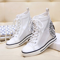 HOT high-quality 2014 New spring summer mesh women flats single White increased within casual shoes platform #b128