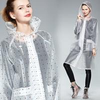 free shipping translucent fashion polka dot travel raincoat for women
