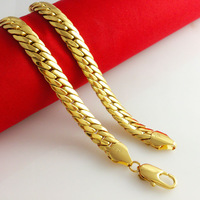 2014 New Fashion Jewelry Vacuum Plating 24K Gold Men 55cm Necklace Colorfast Flat snake bone chain Free Shipping B034