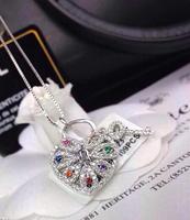 925 silver short necklace locks and keys pendant color  inlaid zircon