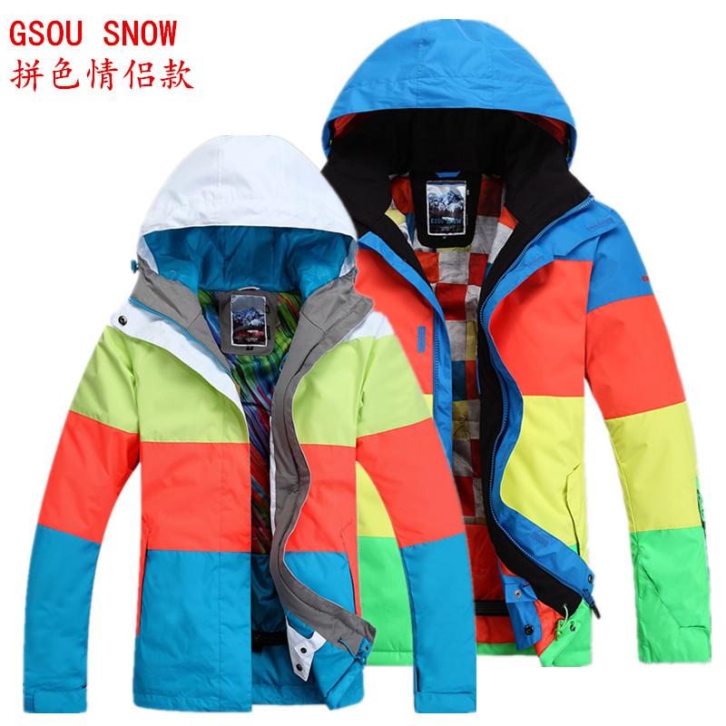 Gsou design dos amantes da neve do terno de esqui esqui terno à prova de frio à prova d'água decoração bloco de cor da roupa de esqui(China (Mainland))
