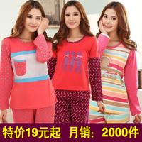 Autumn and winter sleepwear female pure cotton plus size female long-sleeve sleepwear cartoon lounge set