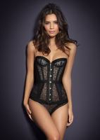 Bslingerie Womens Brocade Lace Up Back Underbust Boned Corset Luxary Corset free shipping