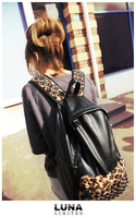 Free Shipping Womens Retro Leopard Rivets Backpack Schoolbag PU Leather
