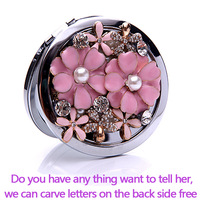 Carve letters free,rhinestone pearl crystal lucky flower,Mini Beauty pocket mirror,stainless steel 2 side,makeup compact mirror