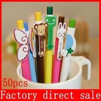 Free Shipping 2014 new  Kawaii cartoon Ballpoint Pen School Supplies Office Stationery Plastic Ball Pen 50pcs