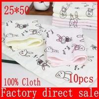 Free shipping! 25x50cm Baby Gauze Muslin Washcloth Baby Wipe Sweat Absorbing face Towel,soft Handkerchief 10pcs/lot