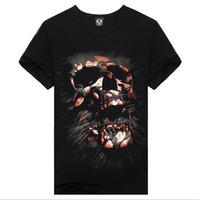 Hot !! 2014 New Fashion Skull Men's Short Sports Slim Fit Stylish Short-Sleeve Shirt Cotton 3DT-shirt men Plus Size:S-XXL
