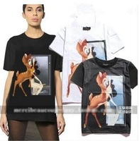 New 2014 Animal DEER Bambi Print Paris Short Sleeve Shirt Women Summer Couple Cotton t shirt Tops Big Plus Size t-shirt