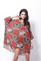 Summer new paragraph chiffon unlined upper garment grows in big yards tiger bat sleeve Bohemian chiffon blouse