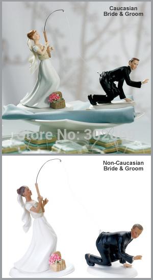 Gone Fishing Caucasian Couple Funny Wedding Cake Topper resin craft wedding figurines(China (Mainland))