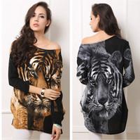 Europe big size women's new winter dress hot design vintage desigual tiger print slim o neck long-sleeved casual dress