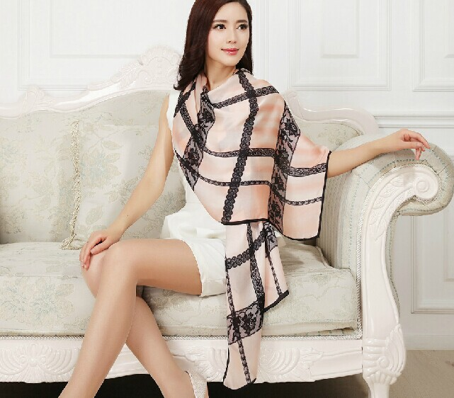 2014 fall fashion for women,Free shipping,desigual scarf,100% silk scarf,Lace flower print,pure silk stoles,shawls and hijabs(China (Mainland))