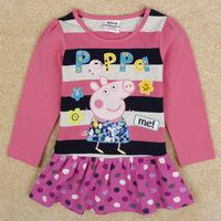 Free Shipping New Design Peppa Pig Dress Long Sleeve Girl's Summer  Dress Peppa Pig Girl Clothing Cotton Baby Girls Dress